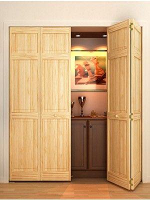 Solid Wood 3 Panel Bifold 1 In Thick 4 Door Made Bydyke Ind Sku 04 35 21668 4 Sliding Closet Doors Wood Interiors Interior Barn Doors