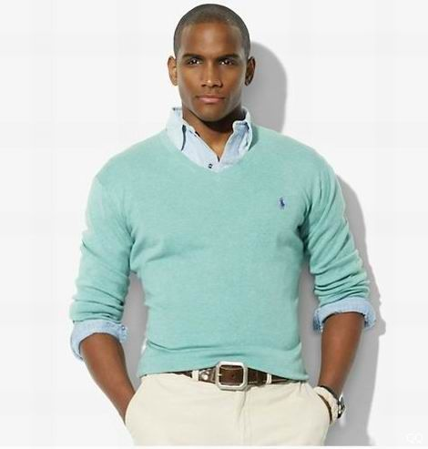 men's V neck sweater with small polo in baby blue   Sweater Vests ...