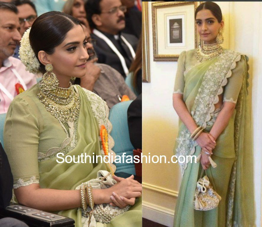 12f79d6ea5 Sonam Kapoor in Anamika Khanna | Greens ☘ | Anamika khanna, Saree ...