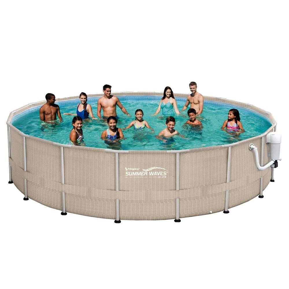 Summer Waves Elite Light Wicker 18 Ft Round X 52 In Deep Metal Frame Above Ground Pool Package Nb2232 The Home Depot Summer Waves In Ground Pools Pool