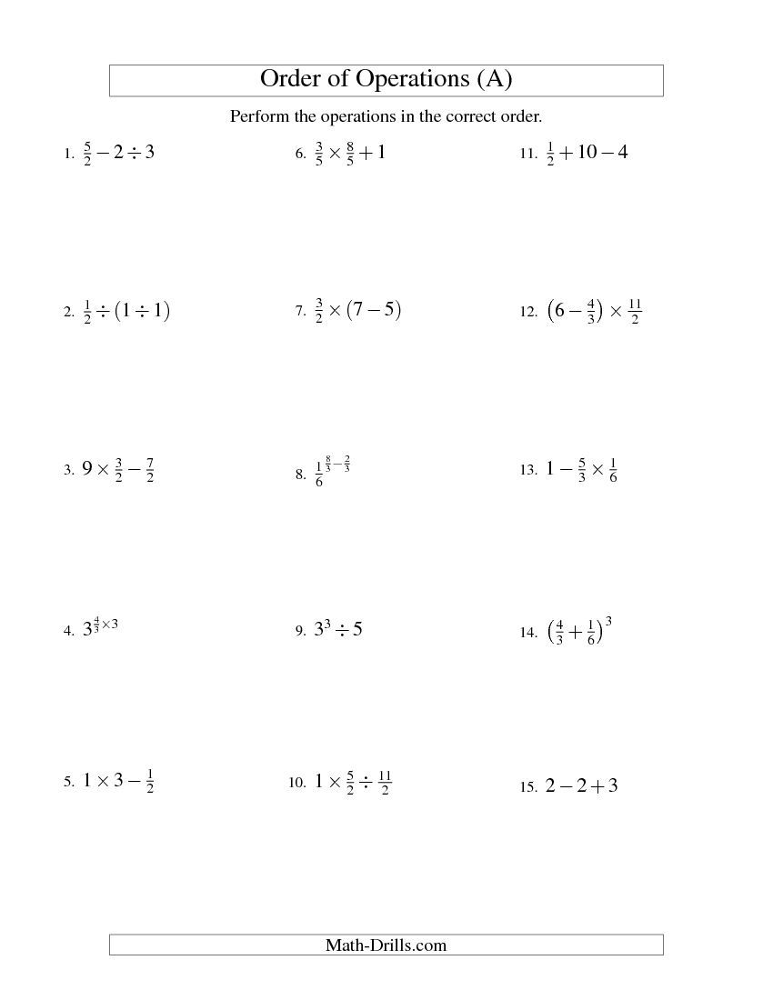 Fractions Order of Operations Two Steps A – Fractions Order of Operations Worksheet
