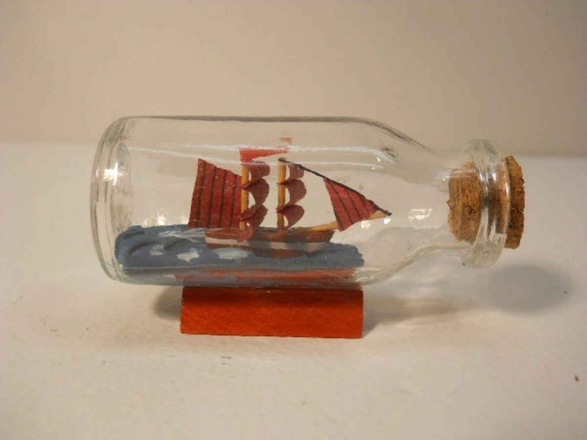 Vintage Small Glass Ship in the Bottle