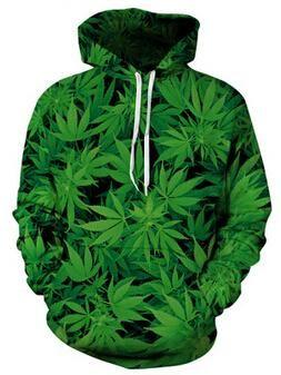 Youth 3D Print Art Green Leaf Pullover Hooded Sweatshirt Tees