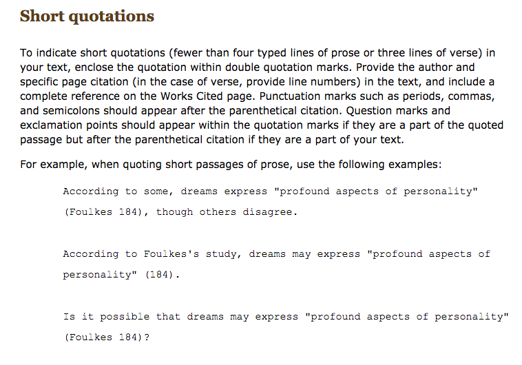 Here Is How A Short Quotation Should Be Cited In Your Essay