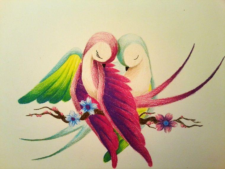 Idea Disegni Facili Da Fare Come Disegnare Due Uccelli Colorati Con I Pastelli Disegni Disegni Di Uccelli Disegni Facili