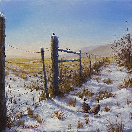 """jerry yarnell   Winter Pheasants"""" - Acrylic on canvas, in Landscapes"""