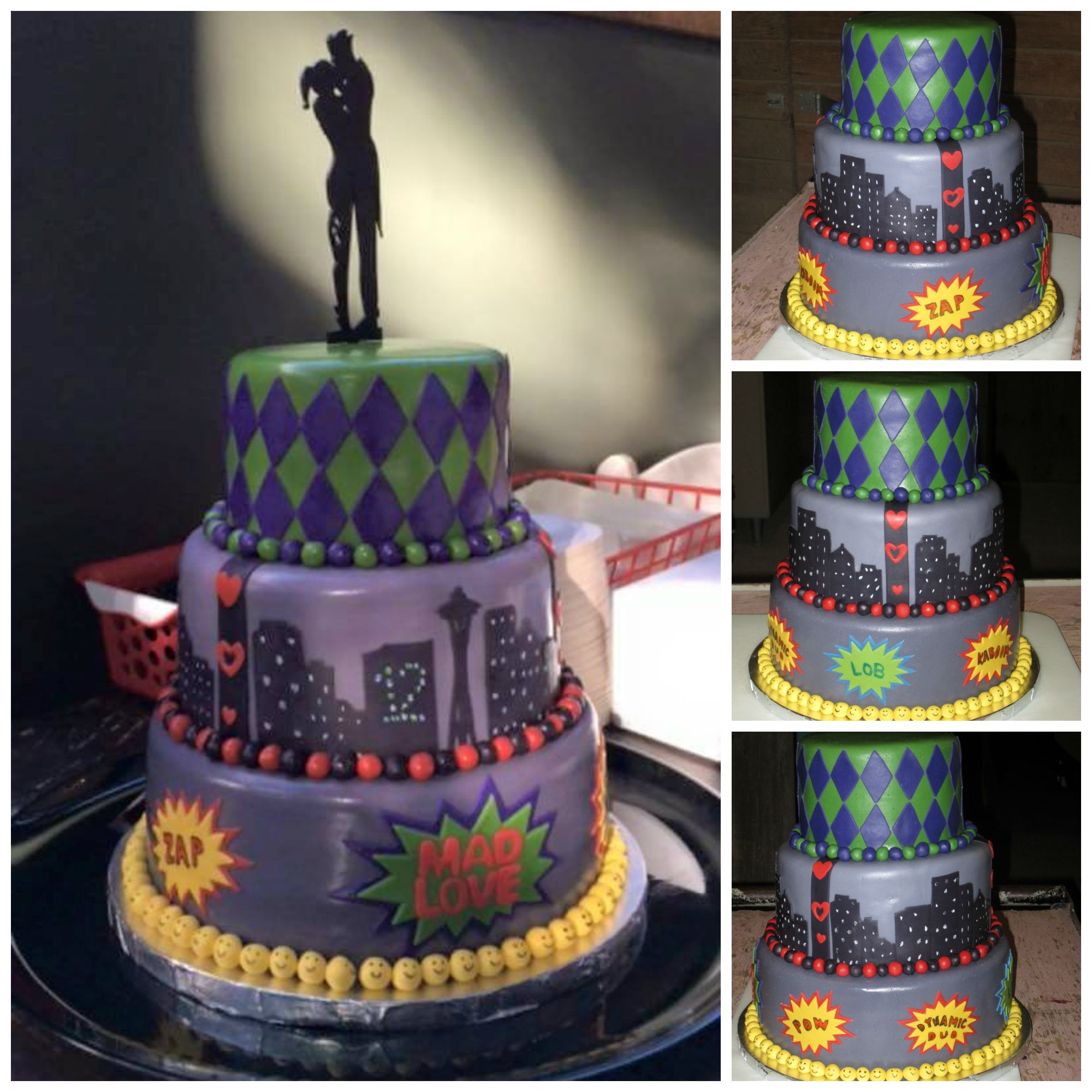 joker and harley quinn themed wedding cake, complete with a