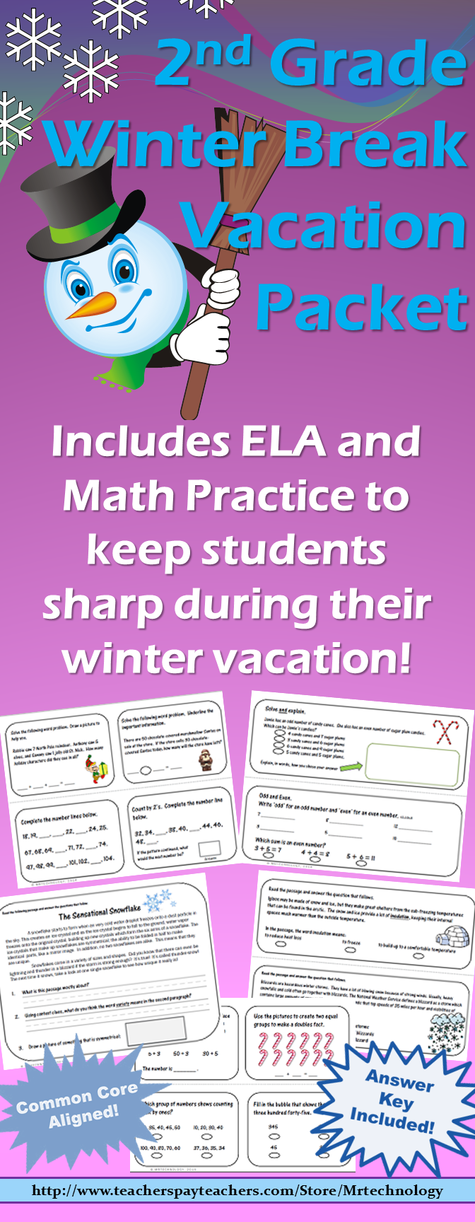 2nd Grade Winter Break Vacation Packet {CCSS Aligned} | Math answers ...