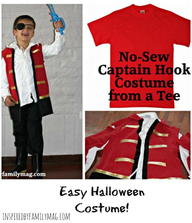 How to make a no sew captain hook costume from a t shirt captain captain hook costume solutioingenieria Images