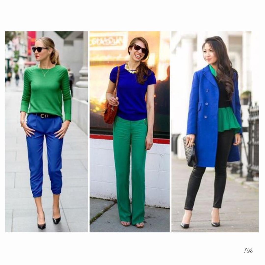 Como Combinar El Color Azul Combinacion Colores Ropa Blusa Verde Outfit Pantalones Azul Electrico