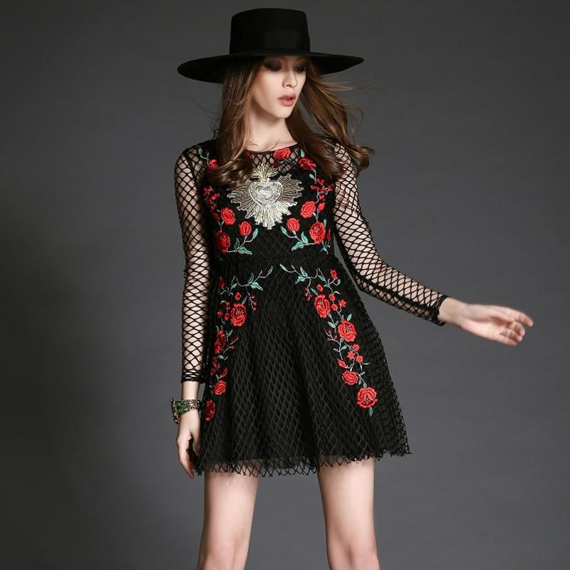 Brand Dress 2016 Spring Fashion Women Runway Long Sleeve Plaid Retro Rose Embroidery Black Sexy Dress Dressing For Women Black Dress Cocktail Party From Dongguan_wholesale, $57.89| Dhgate.Com