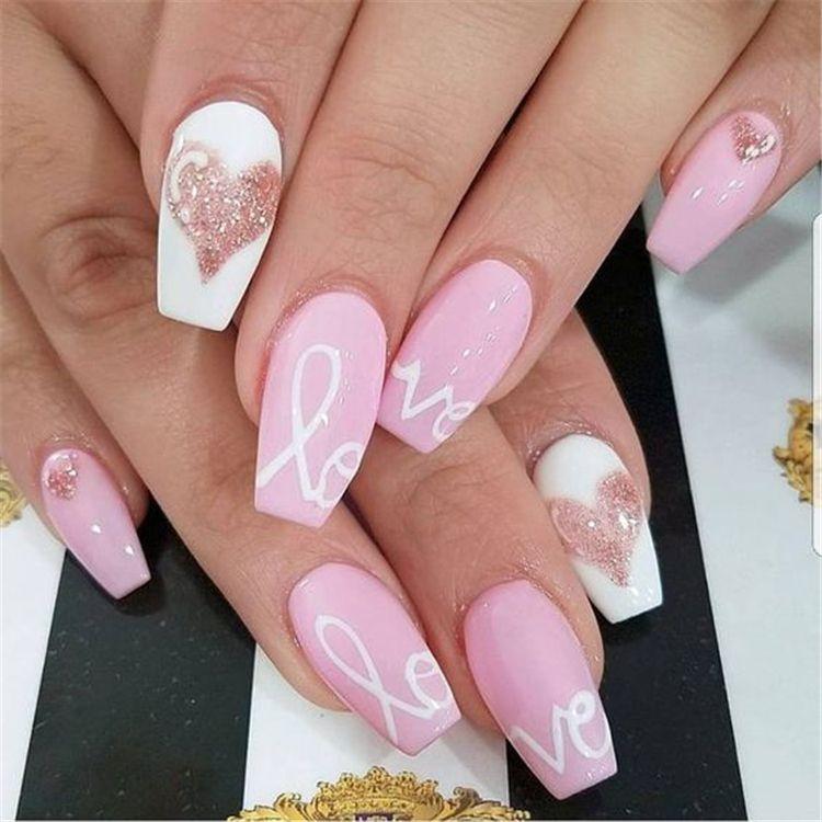 2019 Easy Tutorials Of Hot Valentines Nails Designs Valentine S Day Nail Designs Nail Designs Valentines Valentine Nail Art