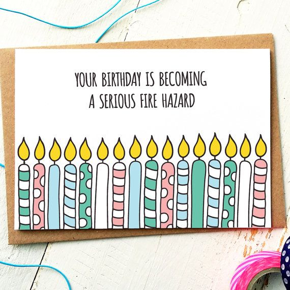 Funny Birthday Card - Funny Friend Card - Fireman Birthday - Birthday For Him - Birthday Funny - Candles - Older Brother - Older Sister #giftsforsister