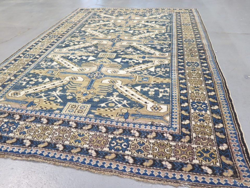An artistic fine Antique Shirvan carpet with an unusual colour combination of faded blue and olive green. Ref. A25081