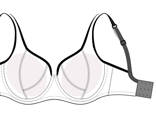 Bra Pattern DL01 is one of our most popular bra patterns. It is a multipurpose; in addition to bras use it for bikini top or evening gown.