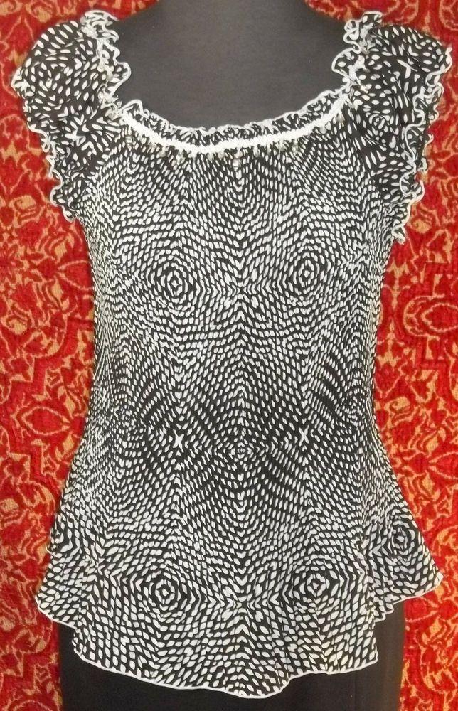 PIANO black geomatric accordion pleat polyester cap sleeve blouse XL (TF02E5) #PIANO #Blouse #Casual