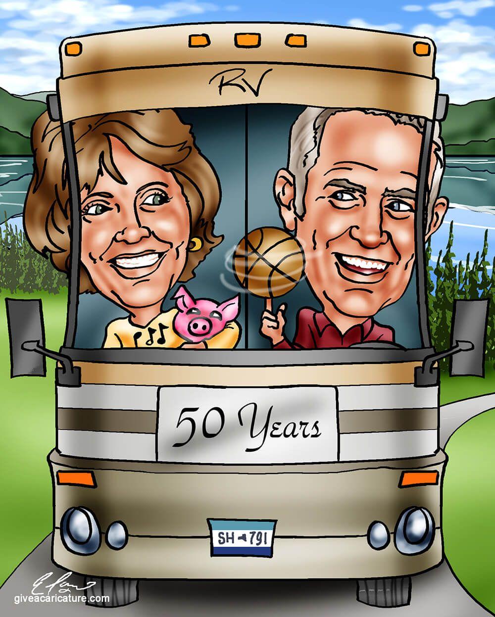 Custom 50th anniversary gift caricature 50th anniversary