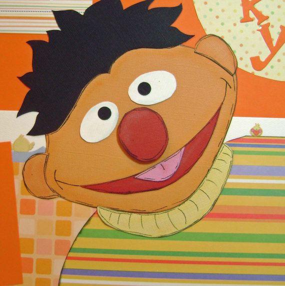 Scrapbook Premade Pages Sesame Street ERNIE by kitsnbitscraps, $26.99