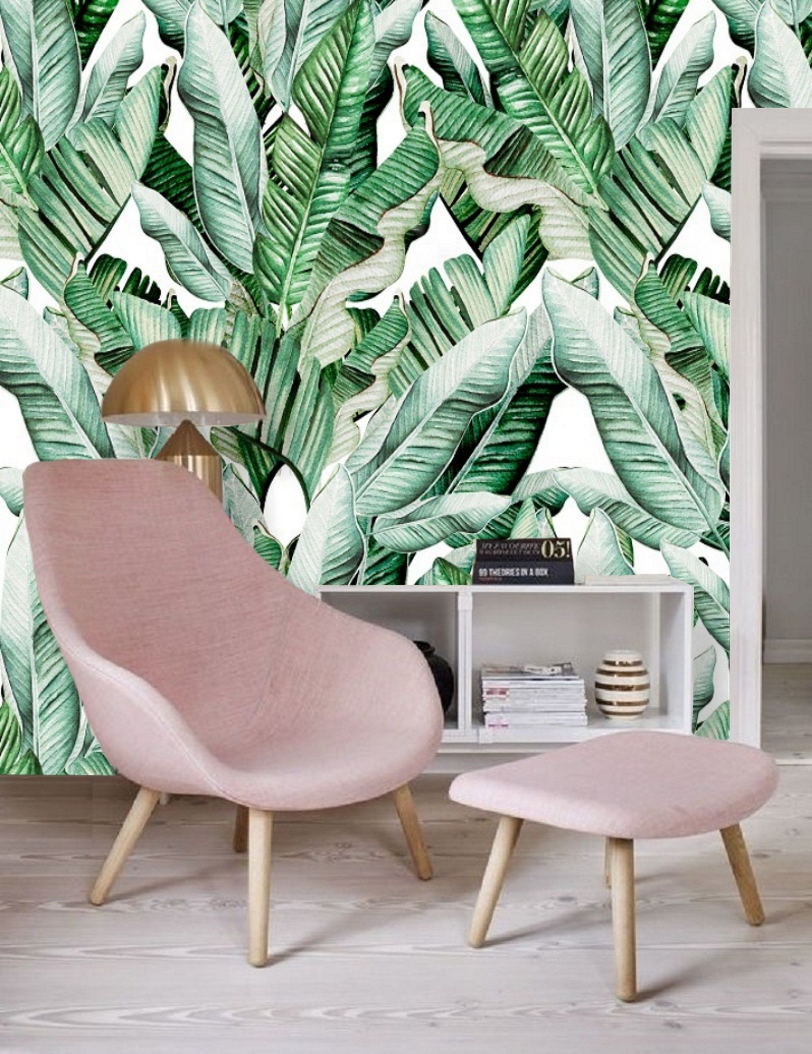 Watercolor Green Banana Leaf Removable Wallpaper Peel and