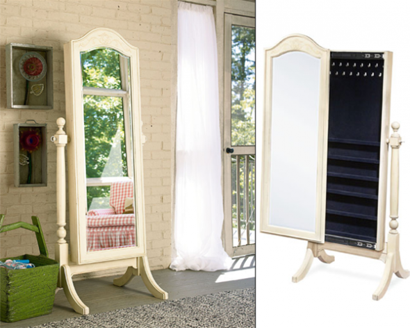Lovely Cheval Mirror Jewelry Armoire Standing Jewelry Armoire Mirror White Frame