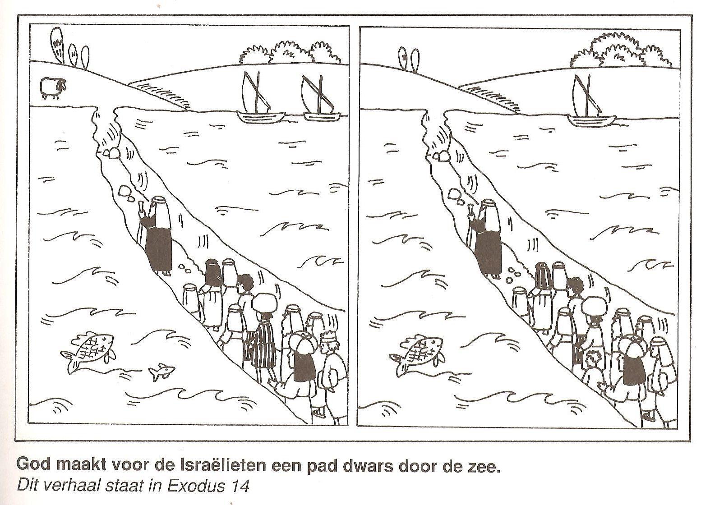 God maakt voor de Israelieten een pad dwars door de zee