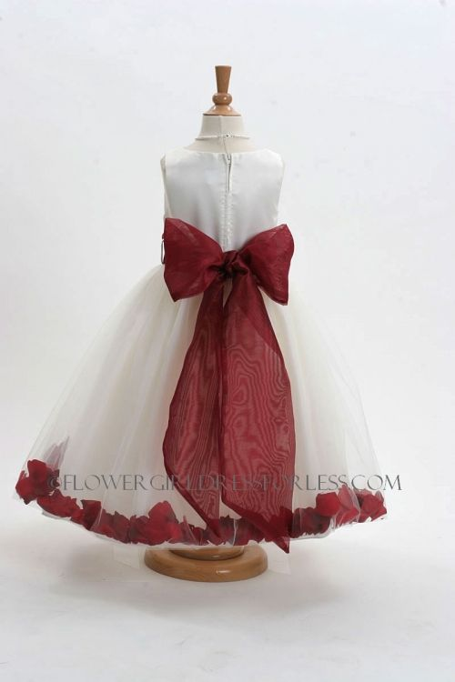 6d4479e3526 Flower Girl Dress Style 152-Choice of White or Ivory Dress with Burgundy  Sash and Petals