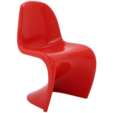 Wavy Red Plastic Dining Chair