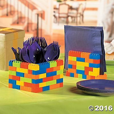 Color Brick Party Utensil and Napkin Holder Idea - bricks sold by Oriental Trading
