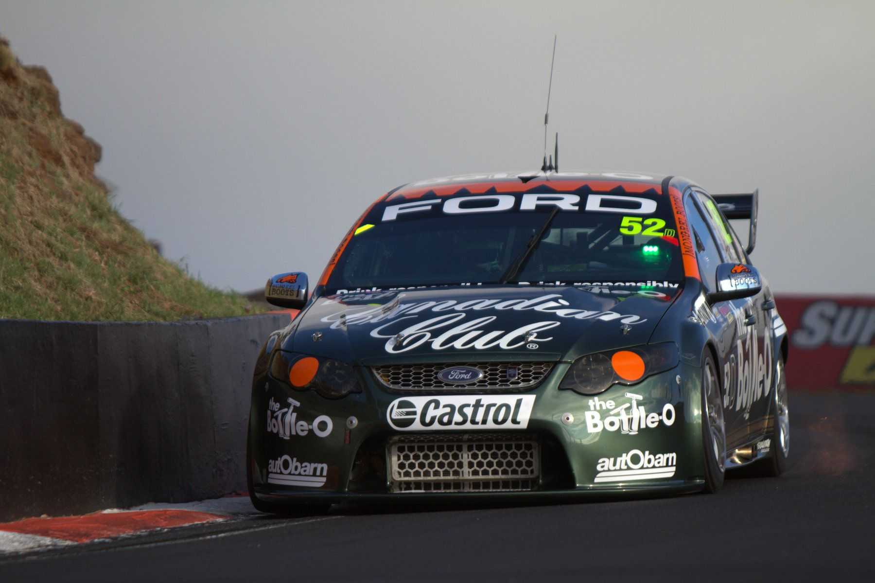 The David Reynolds Dean Canto Retro Bottle O Ford Falcon Coming Into The Dipper During Bathurst 1000 Warm Up This Was De Super Cars Ford Falcon V8 Supercars