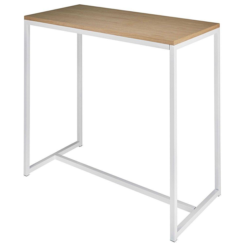 Mesa alta de metal blanco L. 120 cm | Mesa alta, Mesas altas de ...