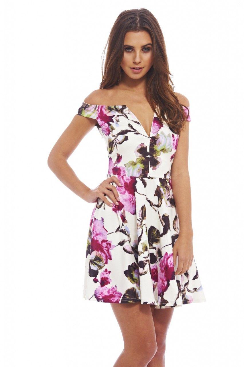 Off The Shoulder Plunge Floral Dress - AX Paris