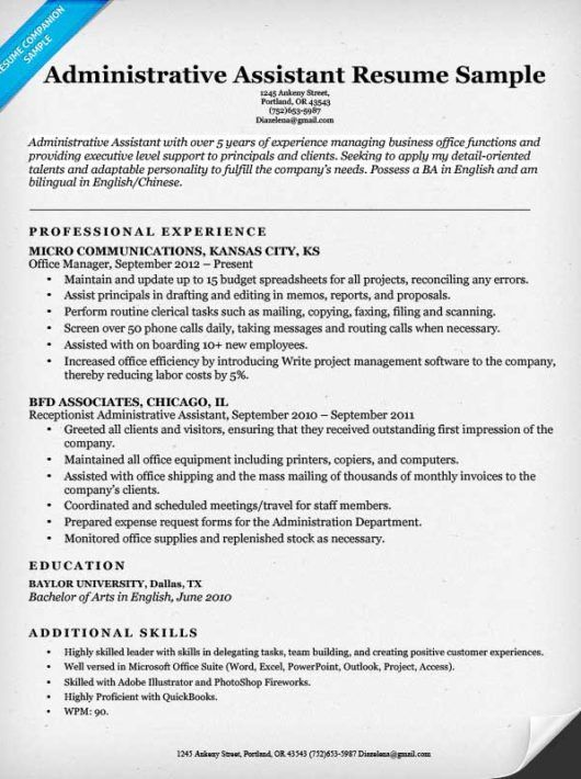 Administrative Assistant Resume Sample Resume Pinterest Sample