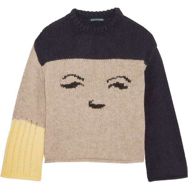 ALEXACHUNG Intarsia knitted sweater (871.635 COP) ❤ liked on ...