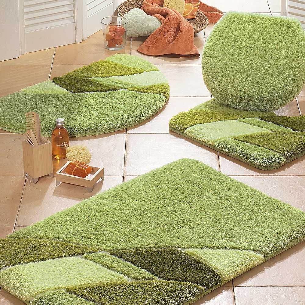 Dark Green Bathroom Rug Set