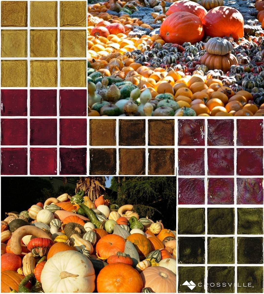 This #MosaicMonday we celebrate the rich earthen hues of autumn's bounty with these vibrant selections from our Origins Glass tile collection. (Pumpkin Patch by Adrian Valenzuela: http://bit.ly/1i0CL5z and Longwood Fall Cornucopia: http://bit.ly/1W90j5V) by crossvilleinc