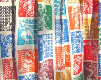 Vintage NFL Curtains Football Boys Room Decor Primary Colors Lined Pinch Pleats Two Panels