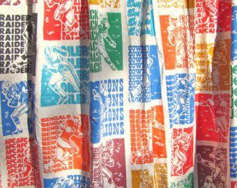 Wonderful Vintage NFL Curtains. Football. Boysu0027 Room Decor. Primary Colors. Lined.