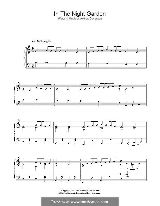 In The Night Garden: For Easy Piano By Andrew Davenport. Easy PianoPiano Sheet  MusicNight ...