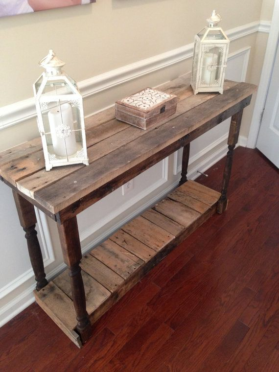 Rustic Foyer Entry Table Reclaimed Repurposed By Brittandtyler