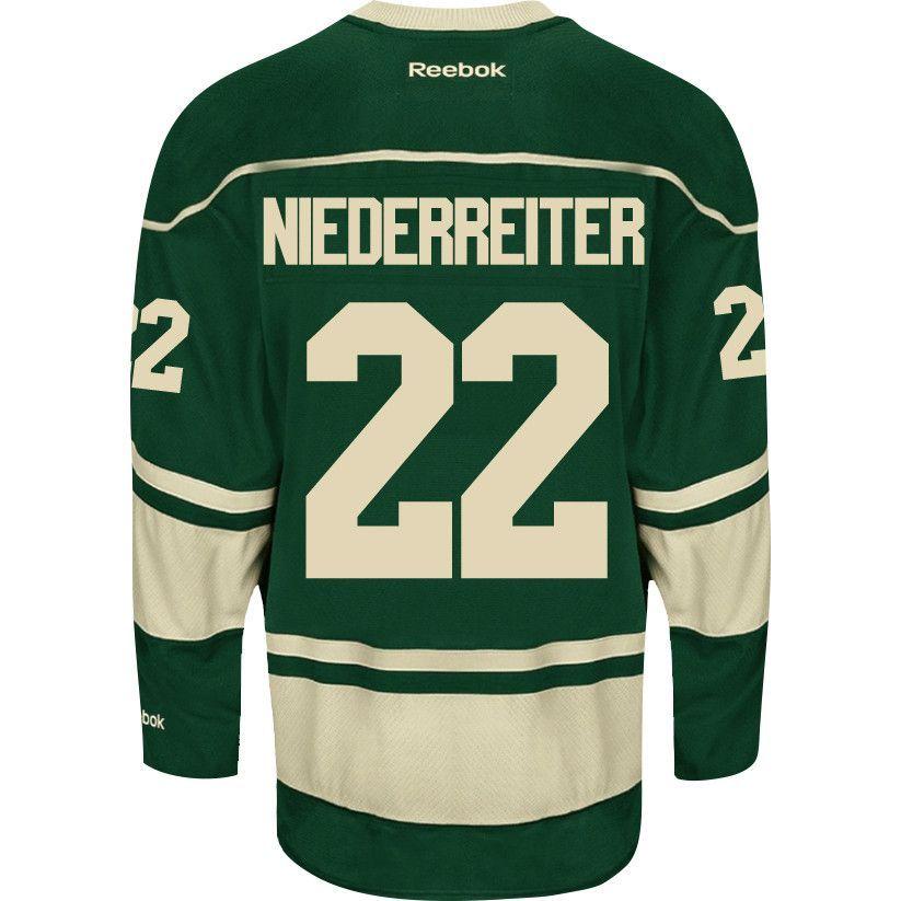 Men s Minnesota Wild Nino Niederreiter Reebok Green Premier Alternate Jersey 5719815ca