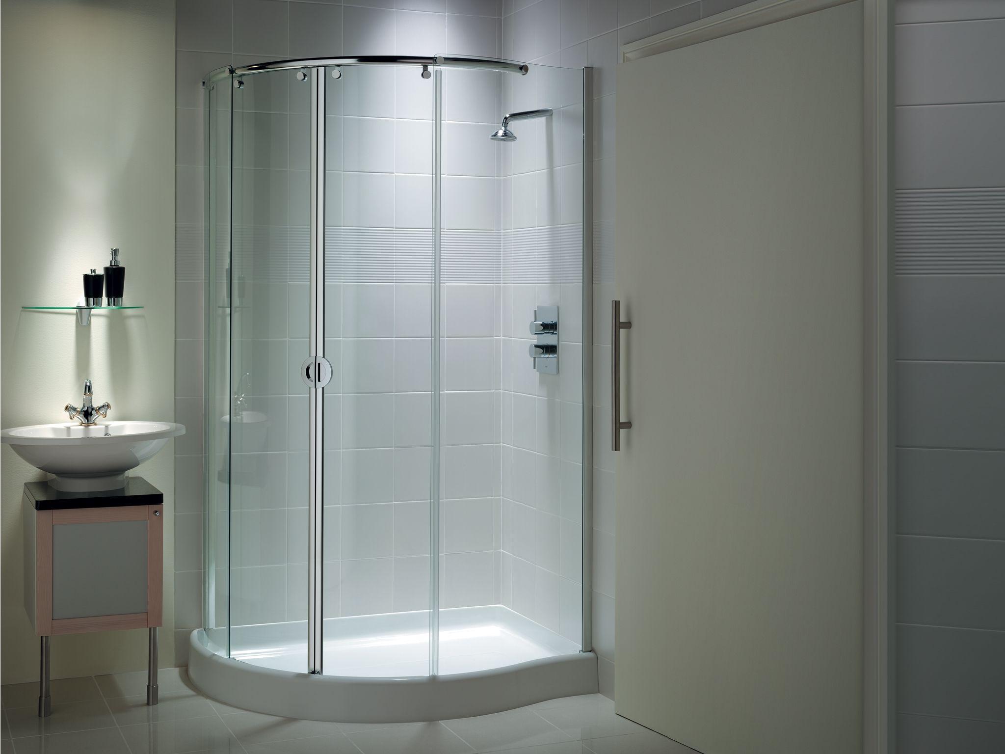 Round Corner Shower Sliding Door Corner Shower Corner Shower Enclosures Shower Enclosure