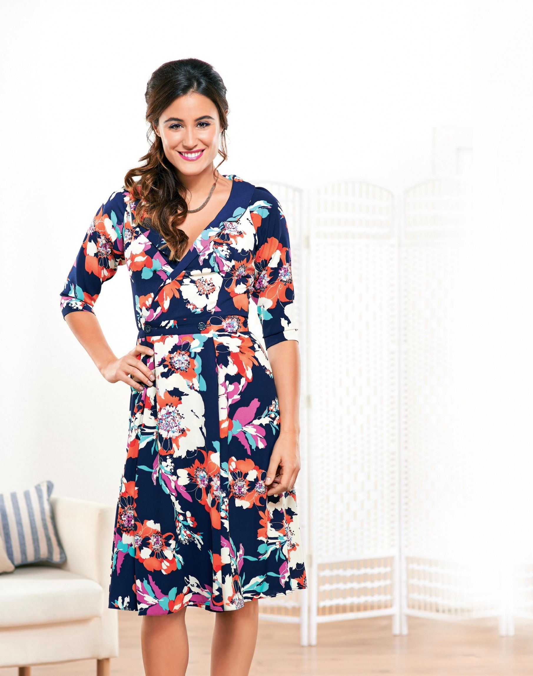 Floaty Floral Three Quarter Sleeved Dress | Sewing Patterns ...