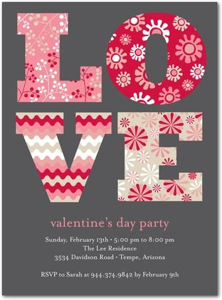 Valentineu0027s Day Party Invitations Favorite Prints - Front - valentines day invitations