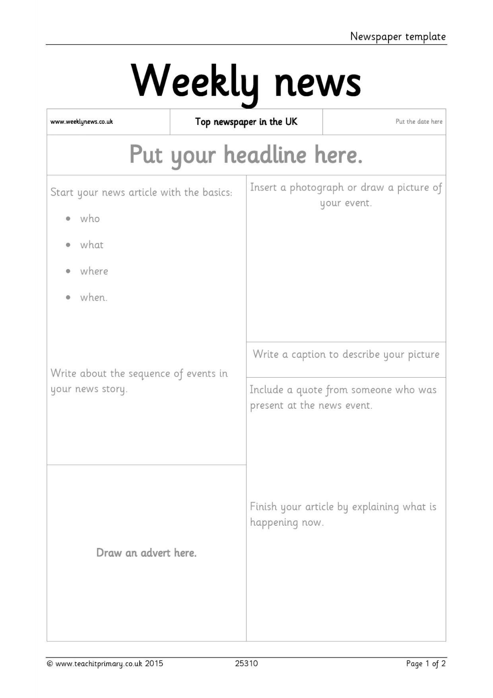 Newspaper Template Pertaining To Science Report Template Ks2 10 Professional Templates Newspaper Template Newspaper Article Template Report Writing Template
