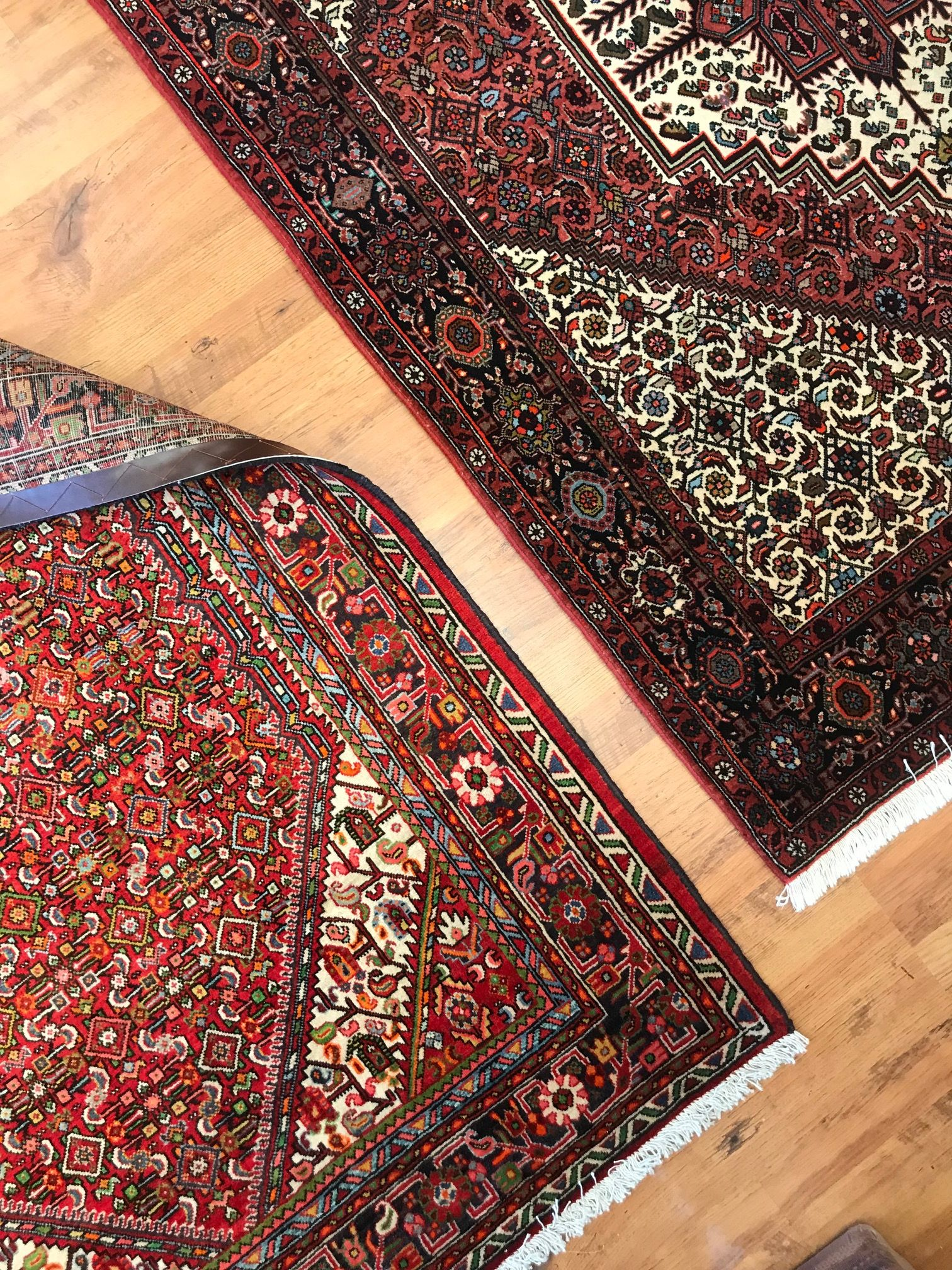 Two Of Our Geometric Persian Rugs Made Wool And Cotton