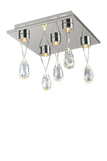 Bejeweled 5 Crystal Led Flushmount Ceiling Light By