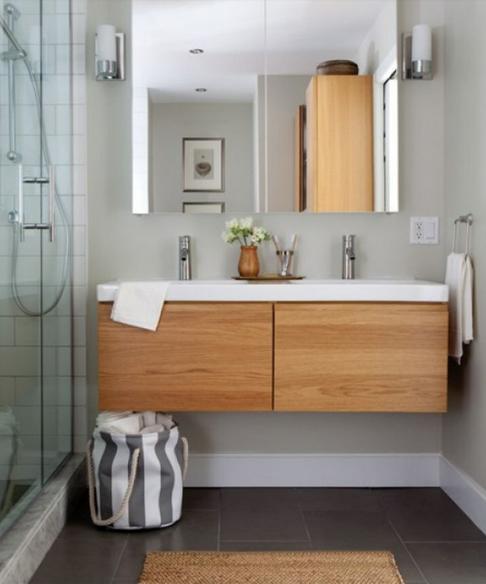 Organic Spa Master Bathroom with Hardwood Floors