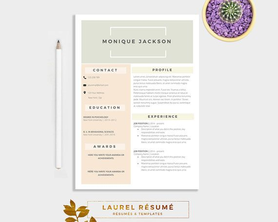 Elegant Résumé Template 2 Pages Resume Cover por LaurelResume - microsoft word 2007 resume template
