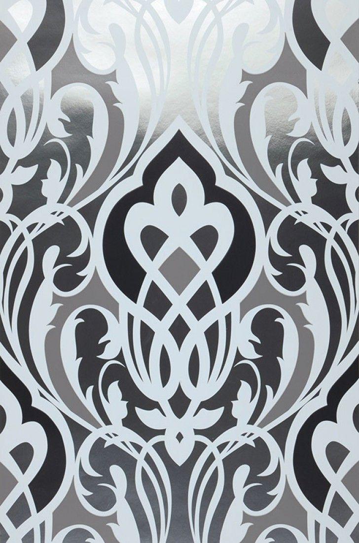 3d aspecto/ Plateado /Papel pintado pared pared /Papel pintado Barock Ornament/
