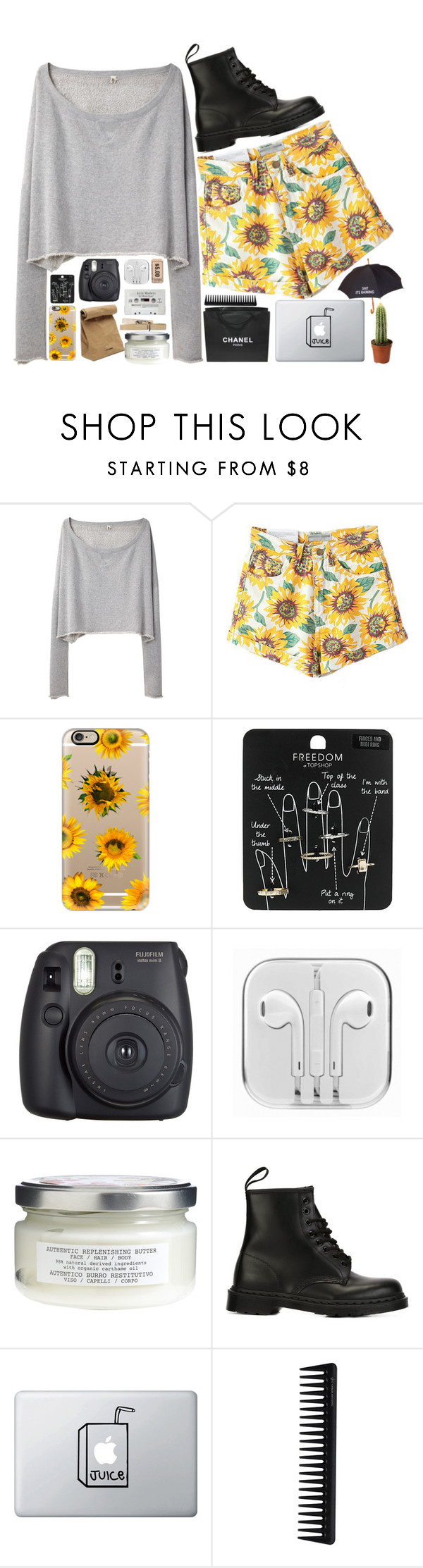 """""""mellow yellow"""" by alovelymisfit ❤ liked on Polyvore featuring R13, Casetify, Topshop, Fuji, Jil Sander, Davines, Dr. Martens, Chanel, GHD and Novelty"""